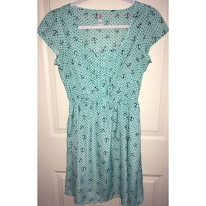 Xhilaration Anchor Printed Aqua Dress